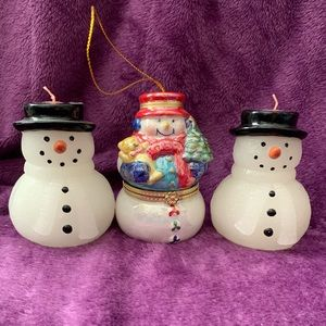 Mr.  Christmas Porcelain Music Box Snowman